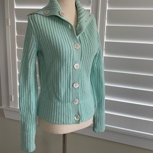 Teal cable knit sweater sz S lambs wool & cashmere